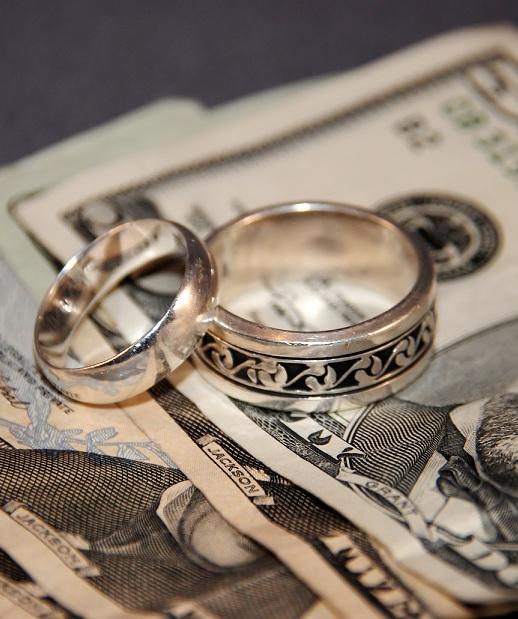 Wedding rings and money